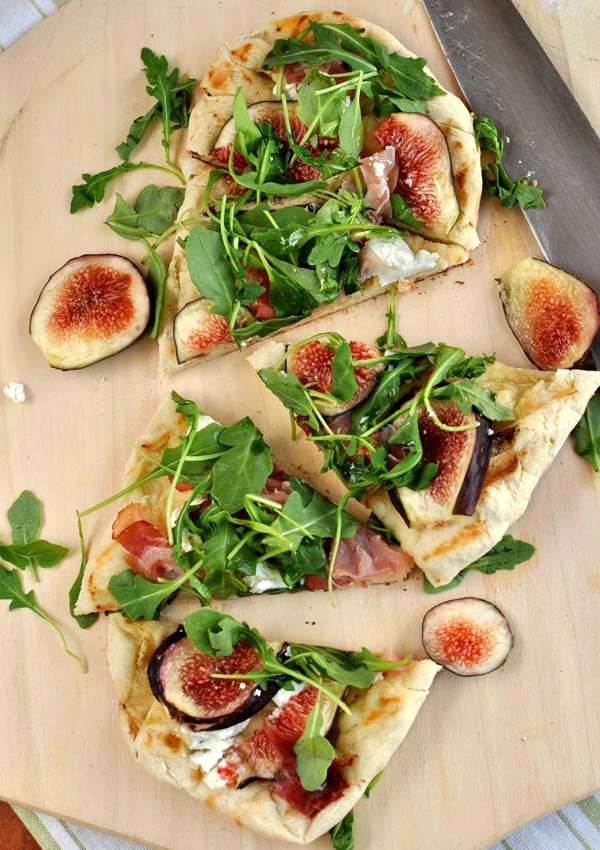 Grilled Flatbread with Figs, Goat Cheese, Prosciutto and Arugula ...