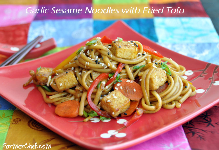 Garlic Sesame Udon Noodles with Fried Tofu — Former Chef